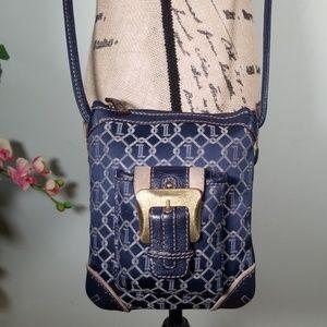 Tignanello Leather/Canvas Crossbody Bag